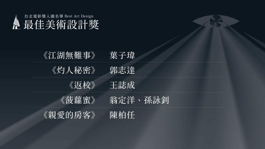 第22屆台北電影獎最佳美術設計入圍名單