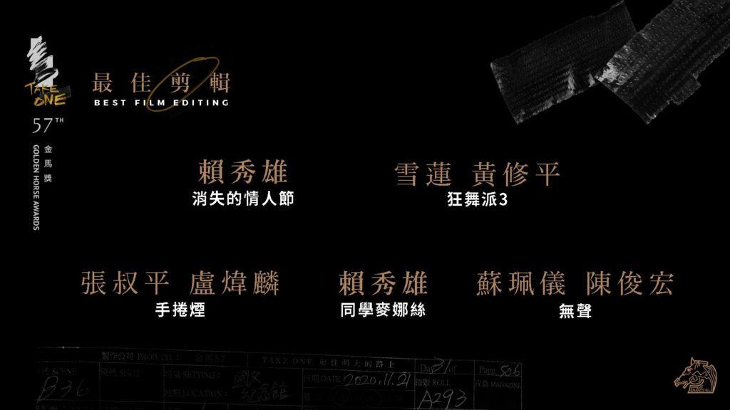 第57屆金馬獎最佳剪輯入圍名單