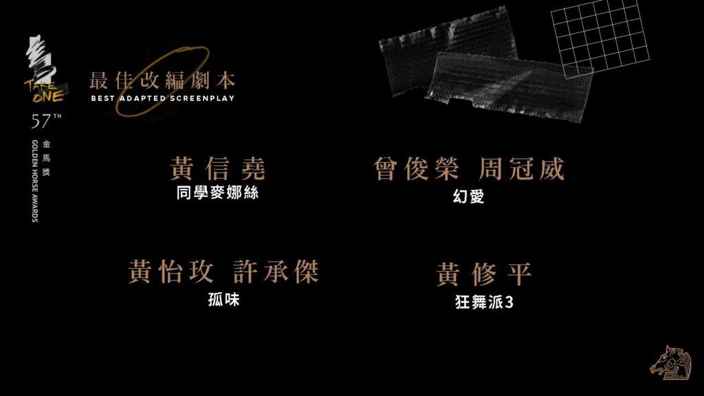 第57屆金馬獎最佳改編劇本入圍名單